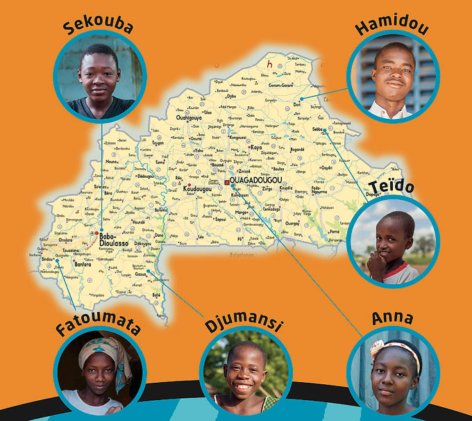Kort Over Burkina Faso Hele Verden I Skole