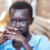 Samuel i et eftertænksomt øjeblik. Måske tænker han på den fremtid, som han drømmer om: at bo i Malakal i frihed - foto: William Vest-Lillesøe